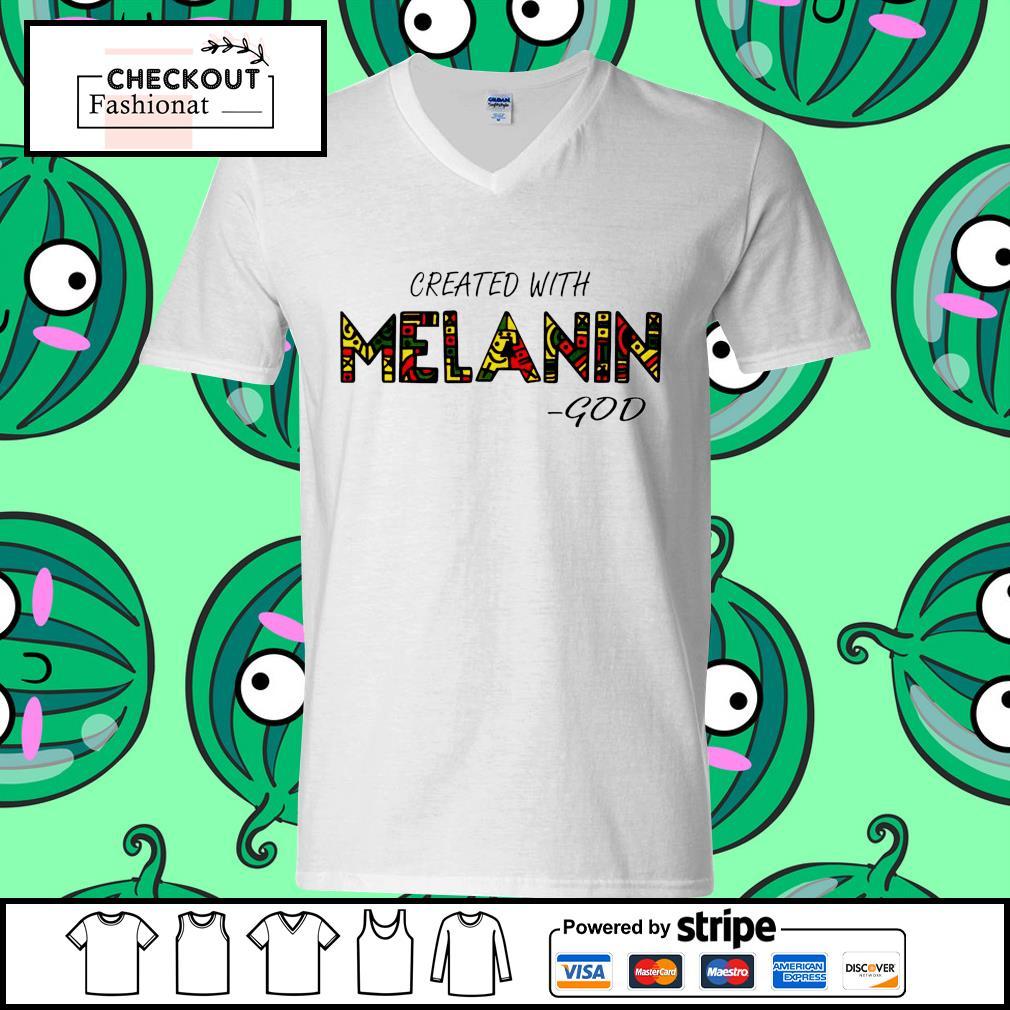 Created with Melanin god guy v-neck t-shirt