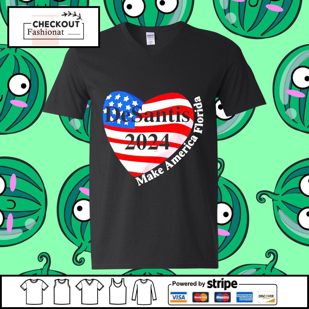 Heart desantis 2024 make America Florida guy v-neck t-shirt