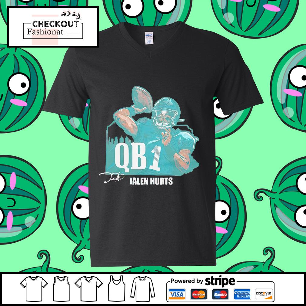 Jalen Hurts QB1 guy v-neck t-shirt