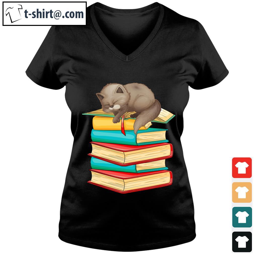 Cute Cat sleeping on books s v-neck-t-shirt